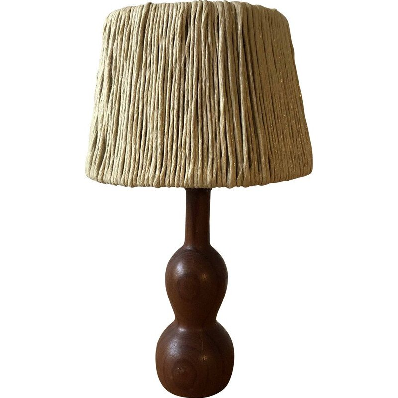 Vintage bedside lamp in wood and raffia, 1960
