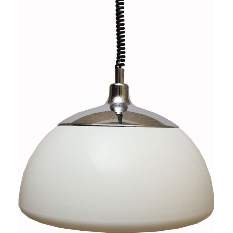 Vintage XL ceiling light plastic white, 1970s