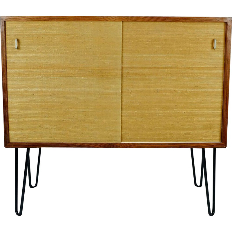 Vintage chest of drawers in rosewood with seagrass sliding doors and hairpin legs, 1960s
