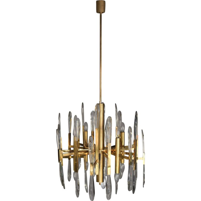 Vintage Italian brass chandelier with glass icicles by Gaetano Sciolari, 1970s