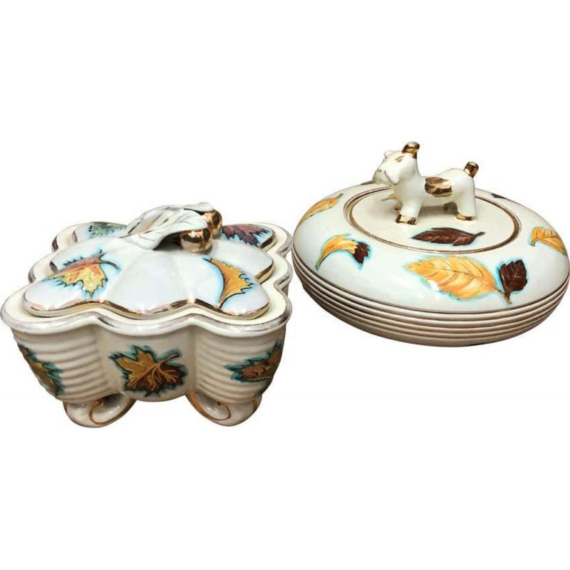 Set of 2 vintage ceramic Italian boxes, 1960