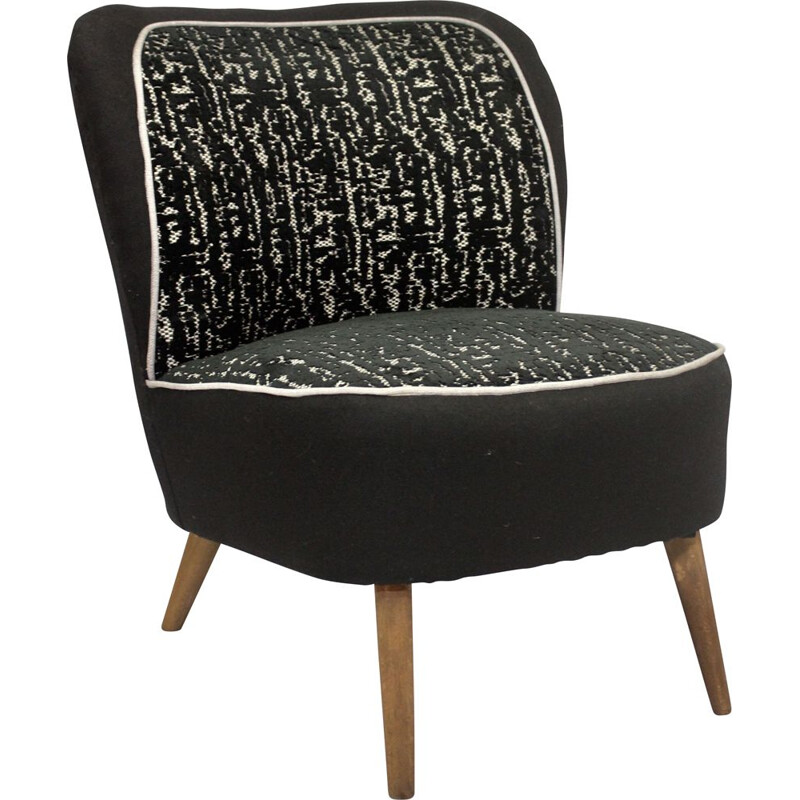 Vintage armchair with black jacquard velvet backrest