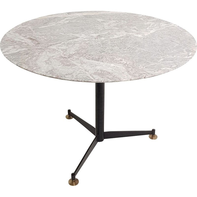 Vintage round Italian table in marble and black metal tripod leg, 1970