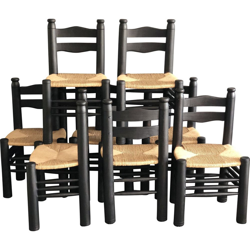 Set of 8 solid oak vintage chairs, stained black Charles Dudouyt 1940