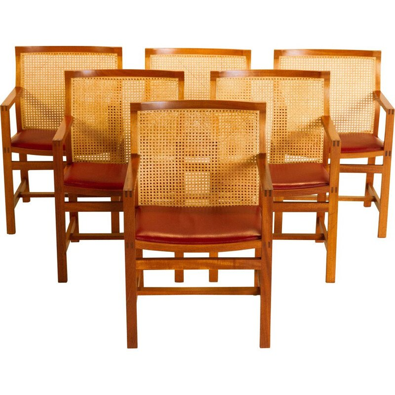 Set of 6 KINGSERIES armchairs in mahogany, leather and wickerwork by Thygsen & Sorensen, 1970