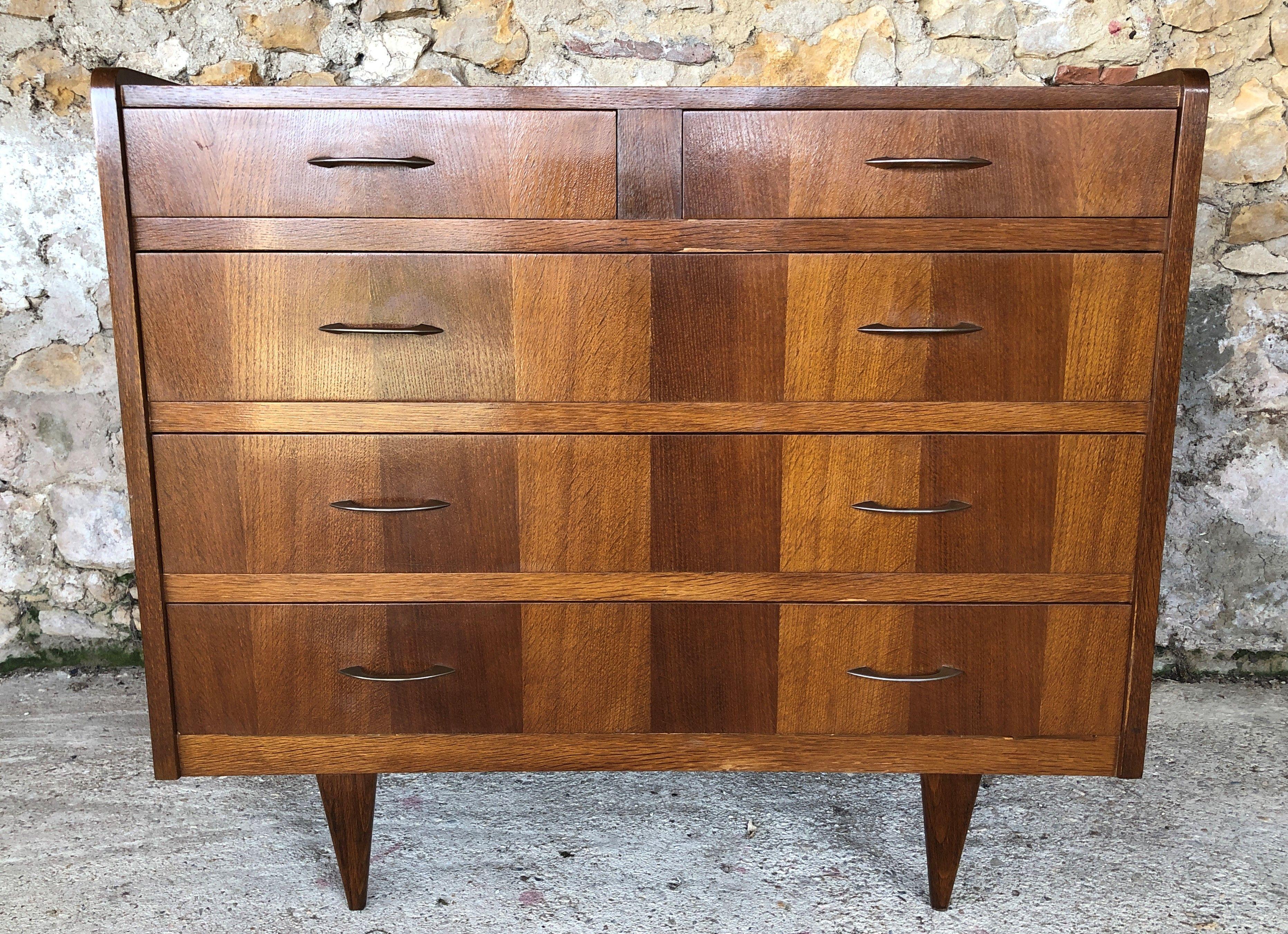 Large Vintage 5 Drawer Chest Of Drawers 1950 1960 Design Market