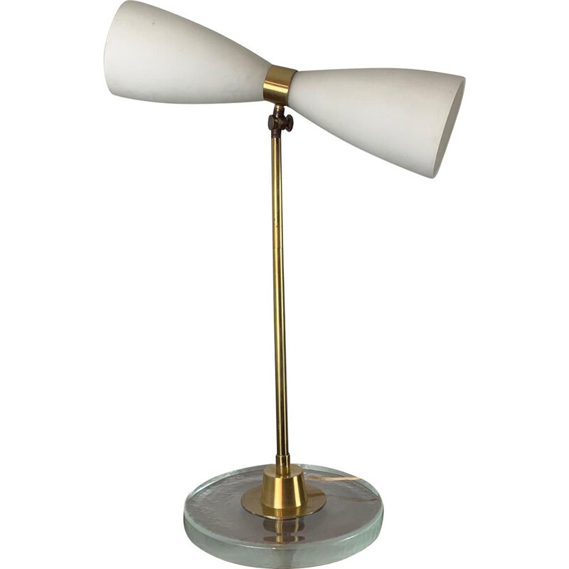 Vintage Stilnovo lamp in opaline, glass and brass