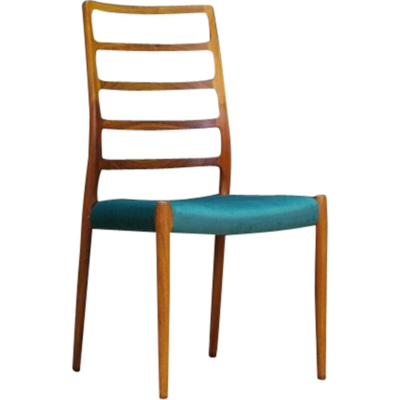 Vintage rosewood and green fabric chair by Niels O.Moller, 1960