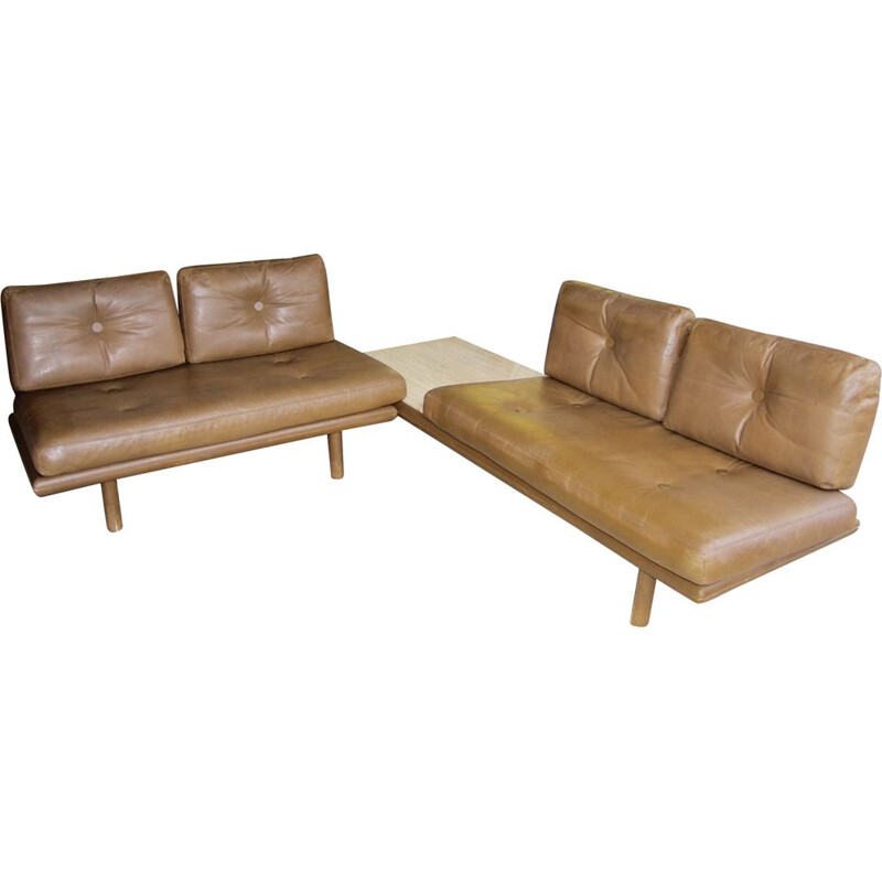 De sede vintage leather lounge set 1970