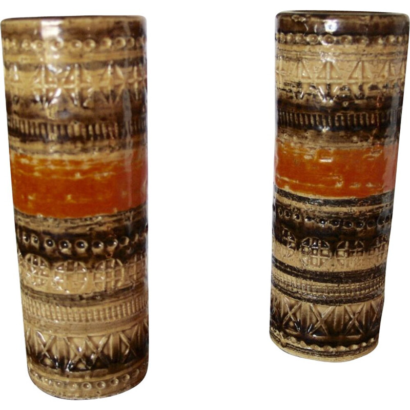 Pair of small vintage vases by Aldo Londi, 1970s