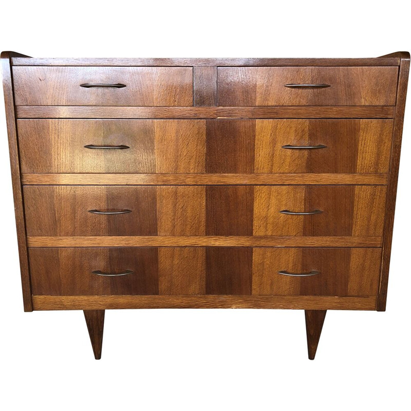 Large vintage 5-drawer chest of drawers, 1950-1960