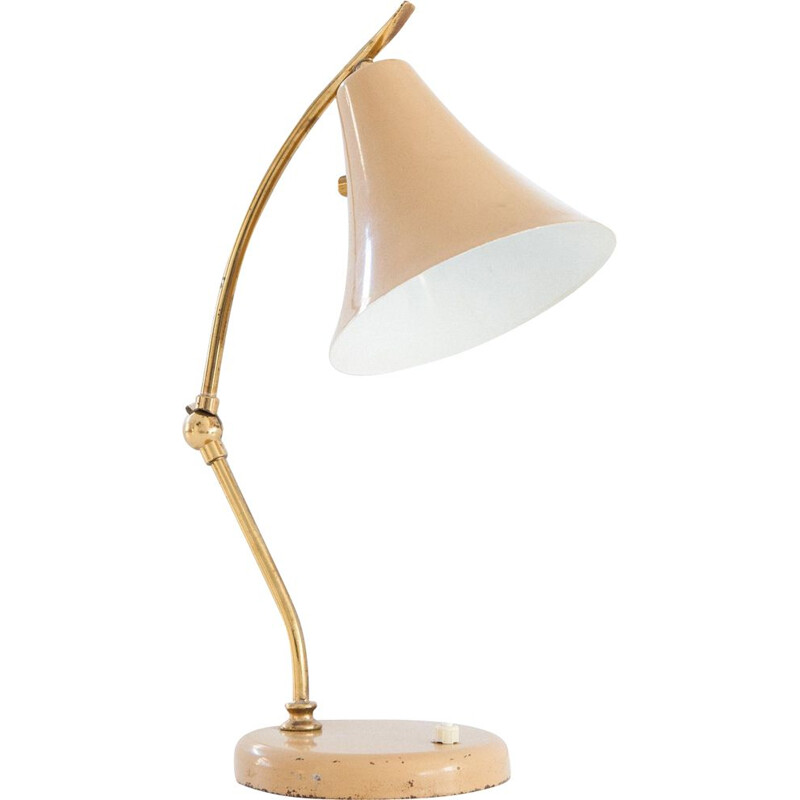 Vintage Italian beige desk or table lamp, 1950s
