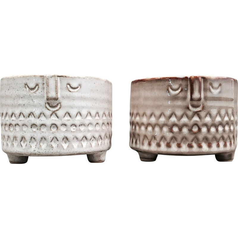 Set of 2 large beige ceramics, Scandinavian design