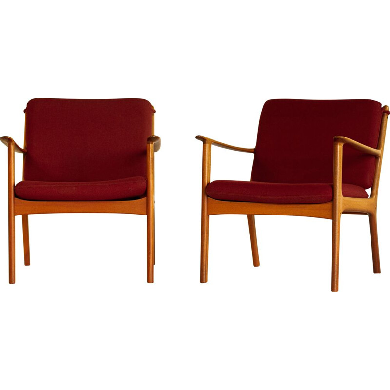 Pair of PJ112 mahogany and red wool armchairs by Ole Wanscher, 1951