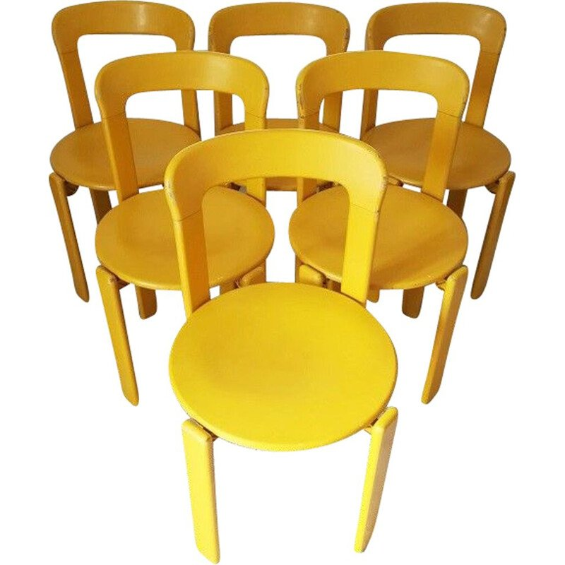 Suite of 6 vintage yellow chairs by Bruno Rey