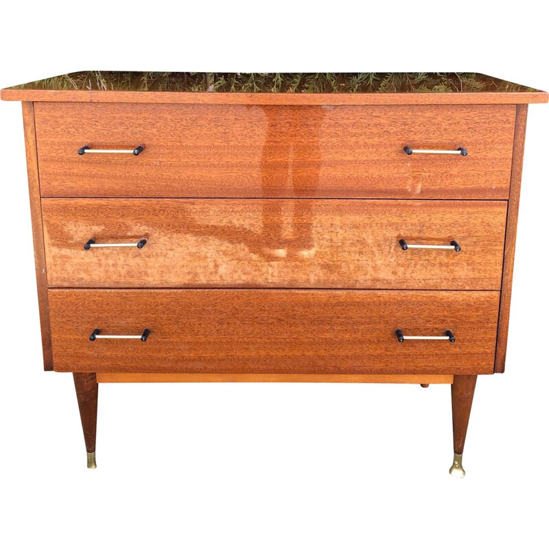 vintage lacquered chest of drawers, brass details 1950