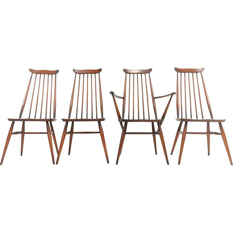 Set of 4 elm and beech vintage dining chairs by Ercolani