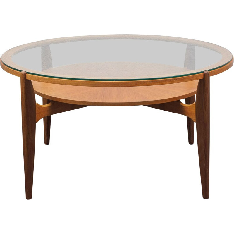 Glass and teak vintage coffee table, 1960s