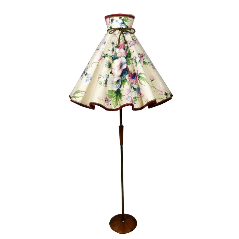 Vintage floorlamp with large flower shade, 1960