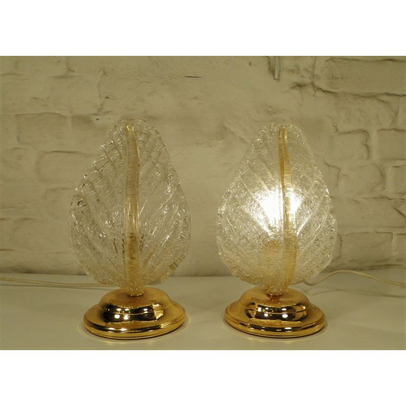 Pair of vintage Murano glass leaf table lamp, 1980s