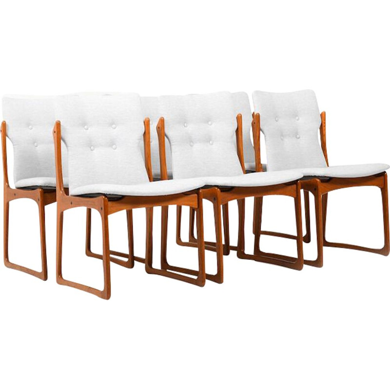 Set of 8 danish teak vintage dining chairs by Vamdrup Stolefabrik