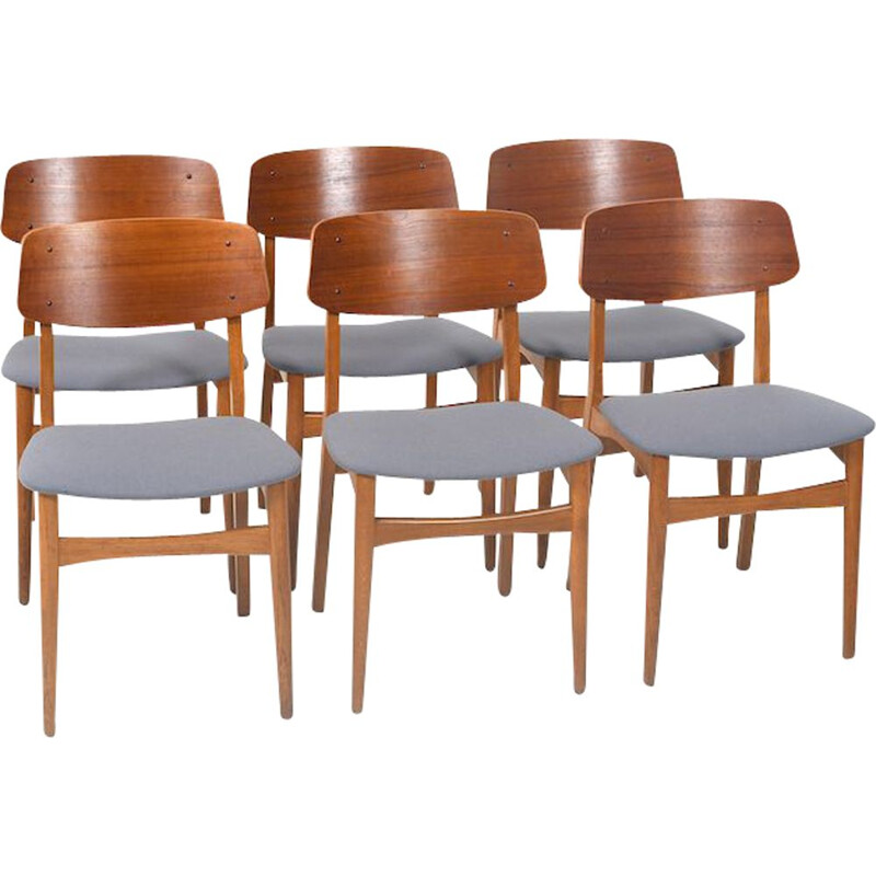 Set of 6 danish teak and oak vintage dining chairs