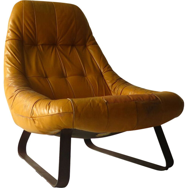 Vintage leather armchair by Percifal Lafer, 1960s