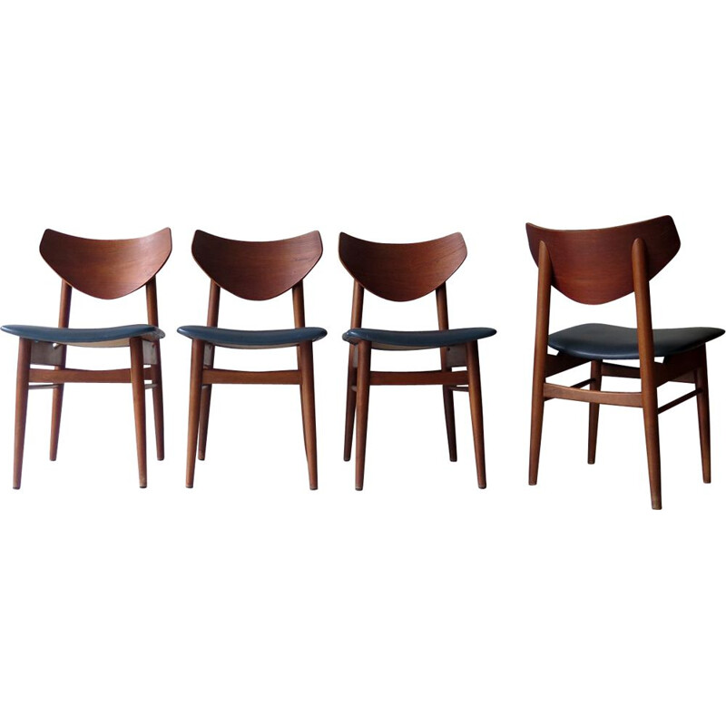 Set of 4 teak Scandinavian Dinning Chairs