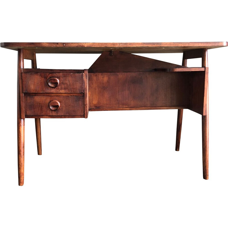 Danish teak desk, compass feet signed by Tibergaard 1960