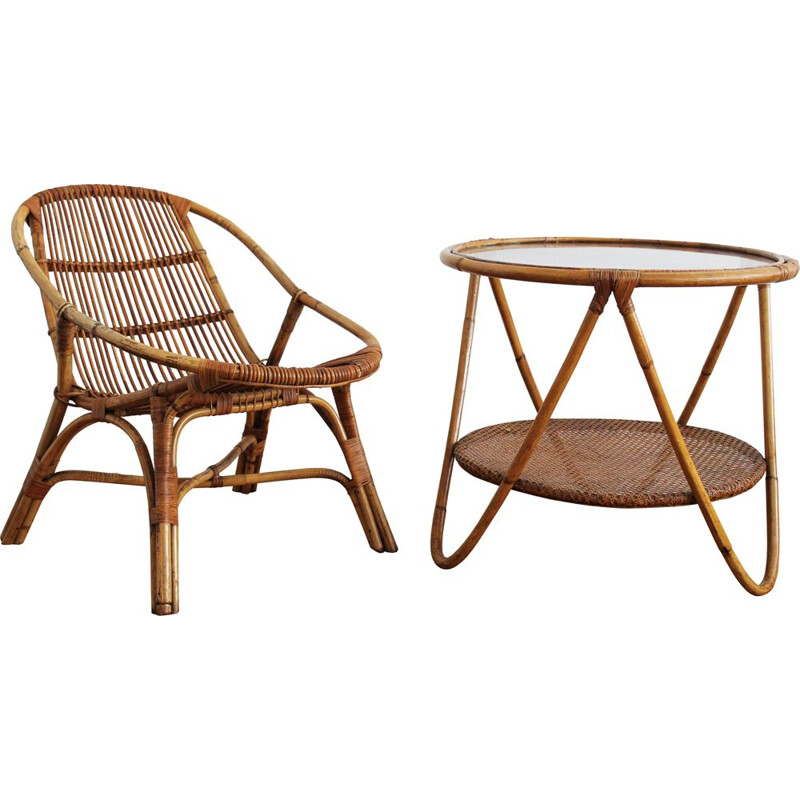1960's Set of Rattan Armchair and Side Table