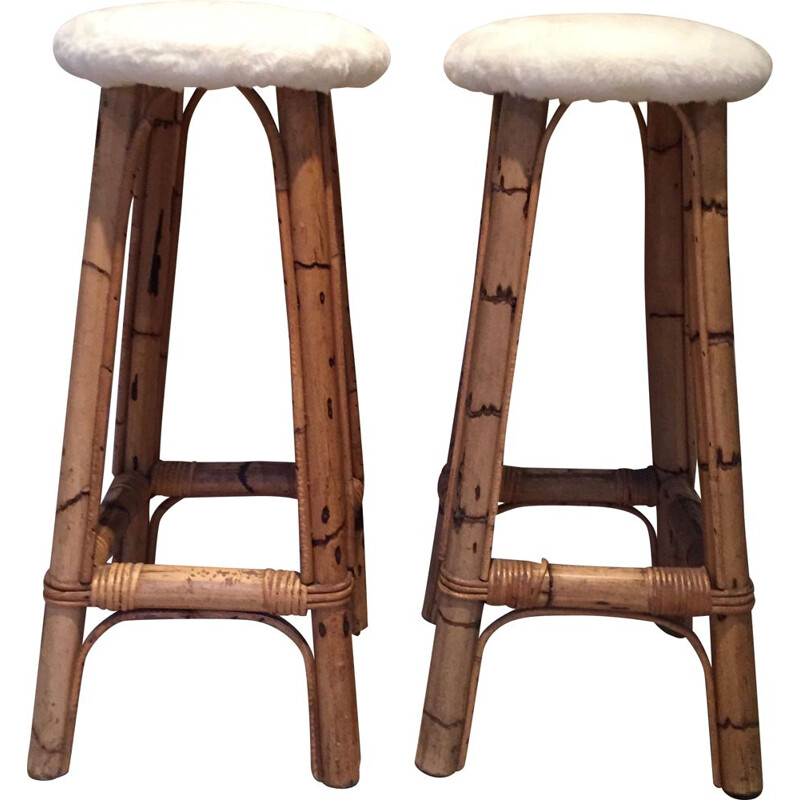 Pair of vintage bamboo barstools, white faux fur seat - 1960