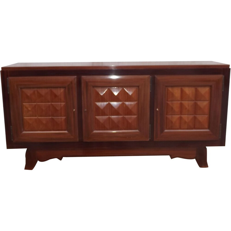 Vintage mahogany sideboard by Gaston Poisson, 1940s