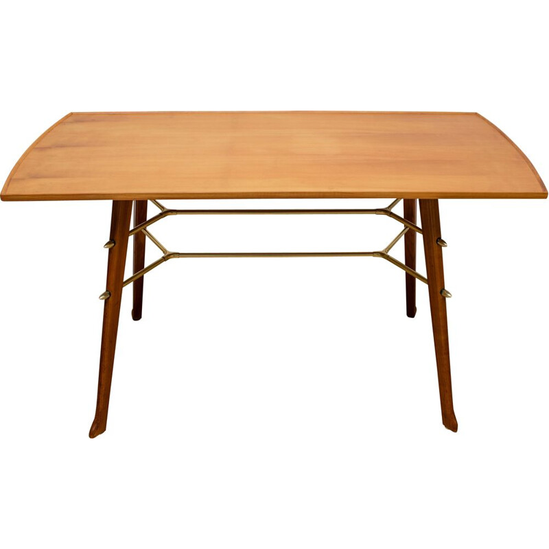 Vintage coffee table in cherrywood and brass, 1950s