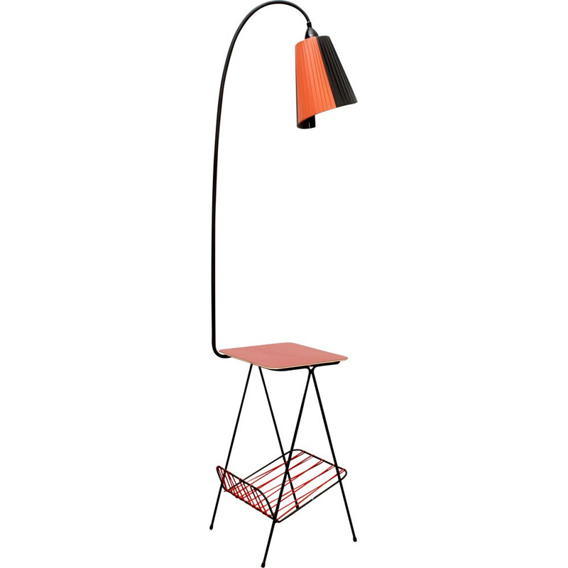 Vintage floor lamp in scoubidou and formica, France, 1950s