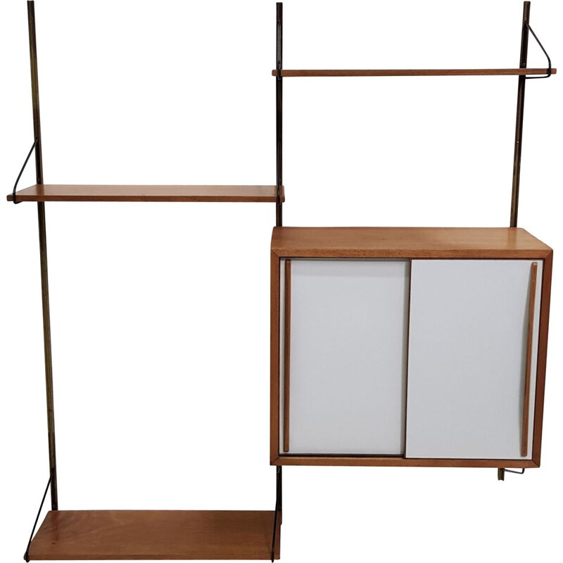 Vintage bookcase in light oak and brass, 1950