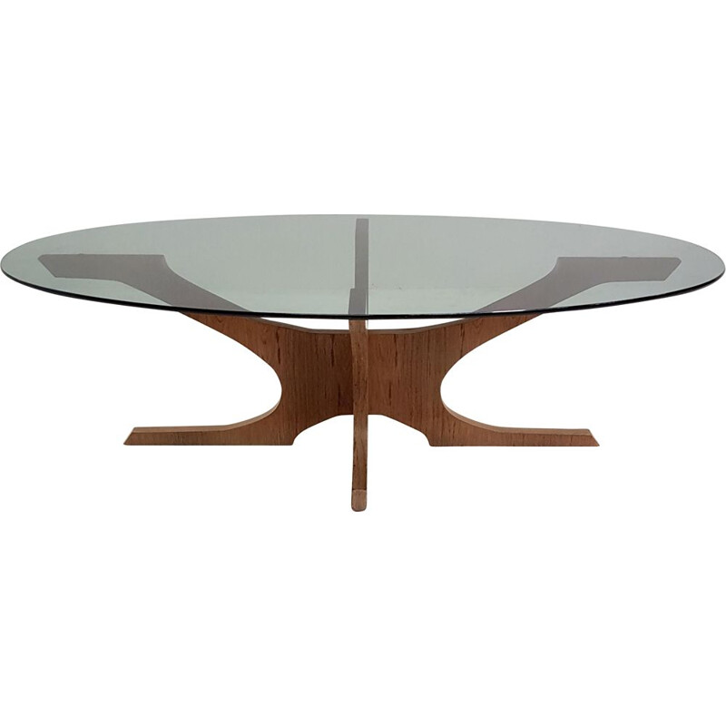 Coffee table scandinavian oval teak and glass Vintage  - 1950