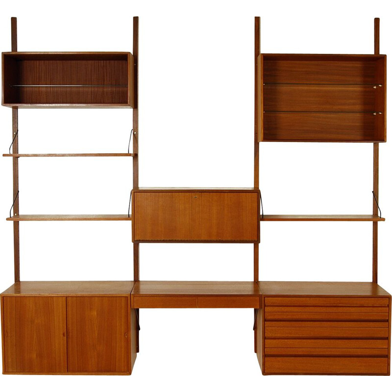 Modular Danish Royal System Teak Wall Unit Shelving by Poul Cadovius 1960s