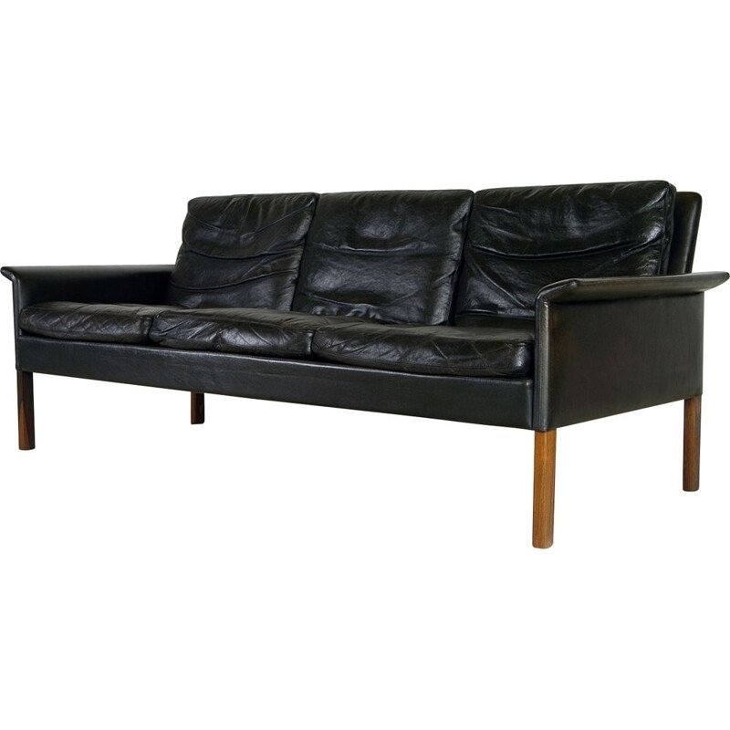 Danish Sofa Mid-Century Leather by Hans Olsen for Christian Sorensen 1960s