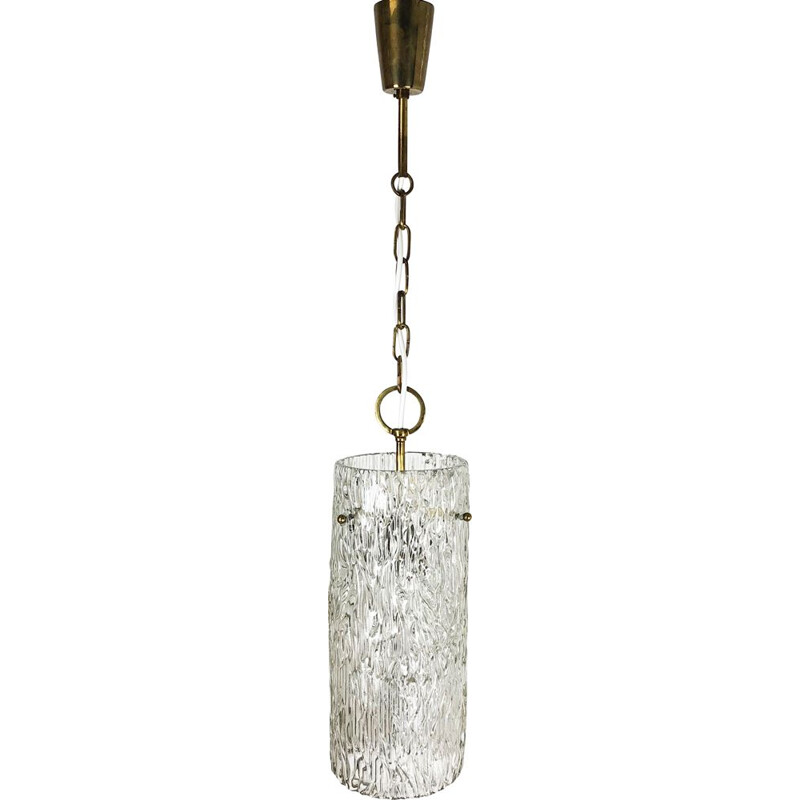 Hollywood Regency Ice Glass Hanging Light, J. T. Kalmar Lights, Austria, 1950s