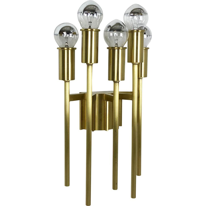 Vintage Italian Stillovo-style brass wall lights for the theatre, Italy, 1970s