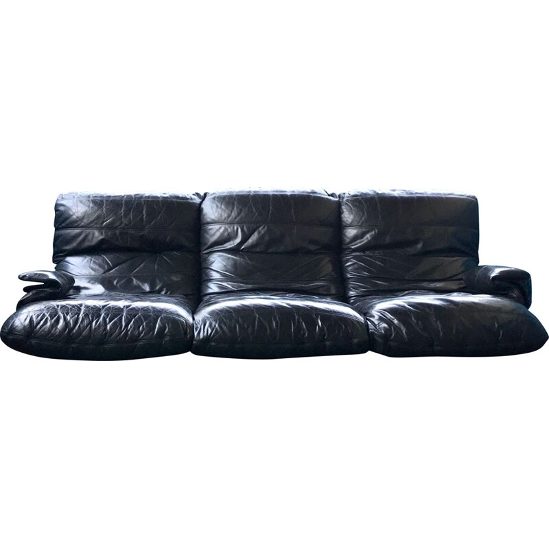 Black leather 3 seater sofa MARSALA by Michel Ducaroy ed Lignes Roset 1971