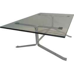 """""""Joker"""" Airbone coffee table in glass and chrome steel, Olivier MOURGUE - 1960s"""