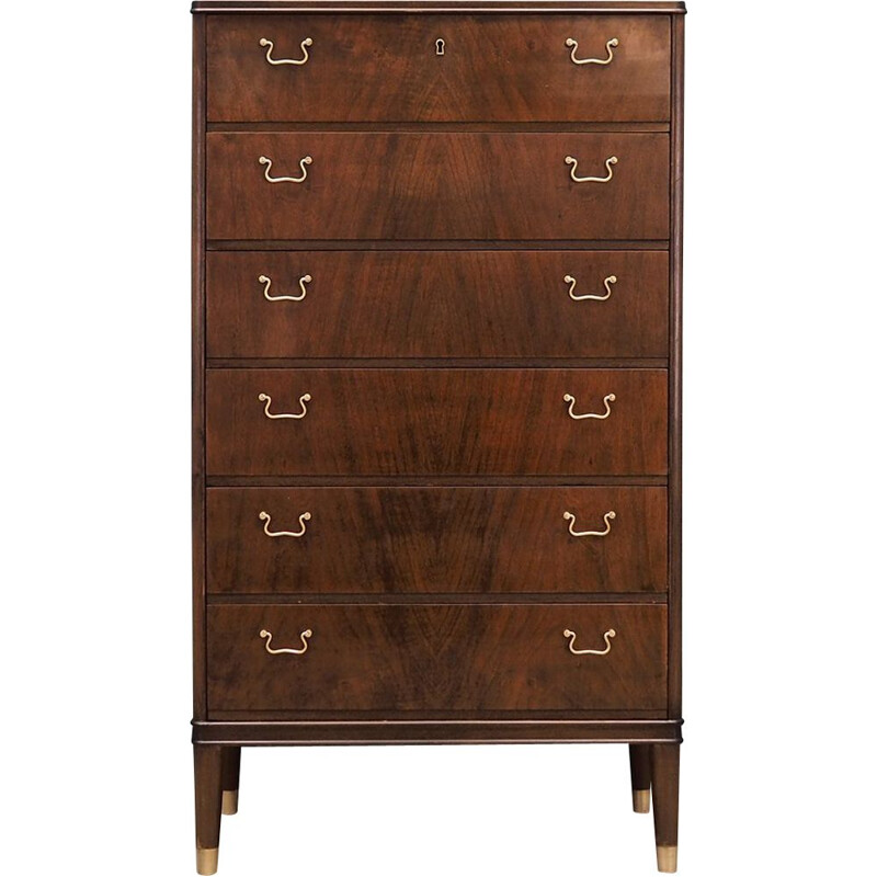 Vintage walnut veneer chest of drawers Danish design 60 70