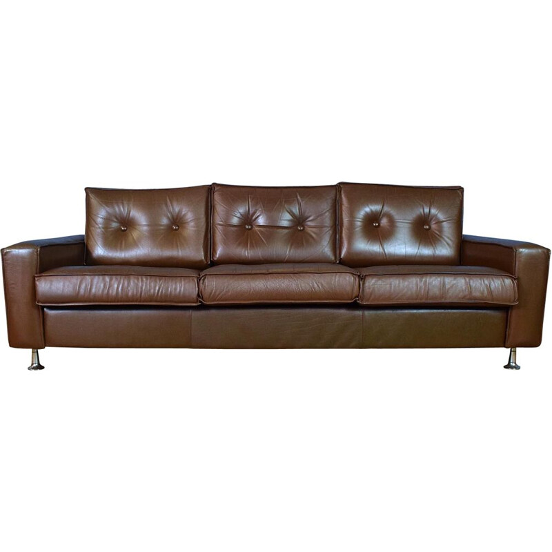 Danish Brown Leather & Chrome 3 Seat Sofa Settee Mid Century 1960s 70s