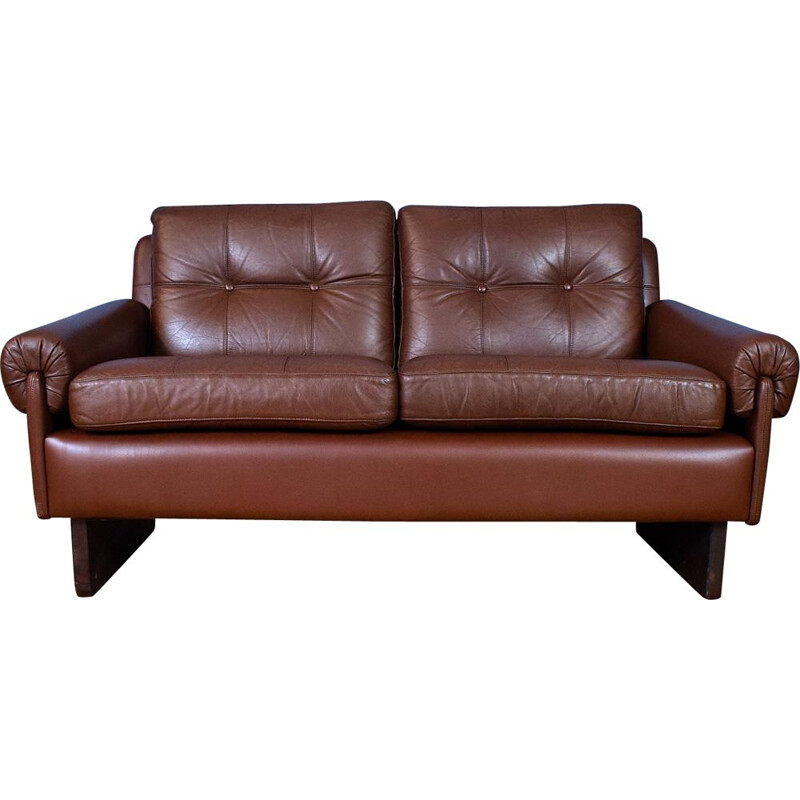 Danish Skippers Mobler Cognac Brown Leather Mid Century 2 Seat Sofa Settee