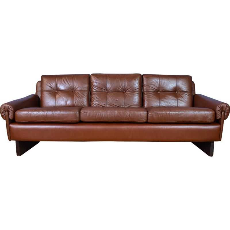 Danish Skippers Mobler Cognac Brown Leather 3 Seat Sofa Settee Mid Century