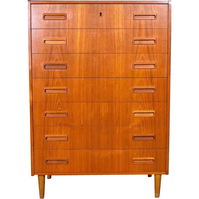 Danish Teak Tallboy Bedroom Chest of 7 Drawers by Westergaard