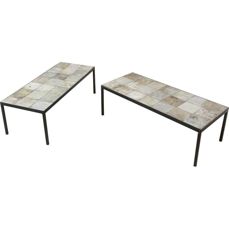 Pair of ceramic coffee tables by Michelle and Jacques Serre