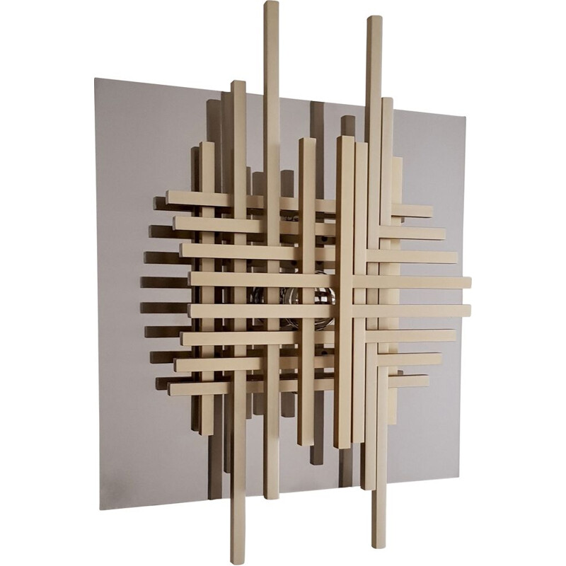 Wall lamp by Philippe Jean  in chrome-plated stainless steel and brass - 1970