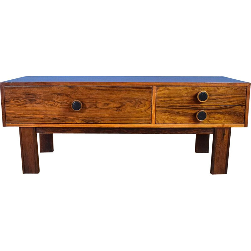 Danish Rosewood Low TV Stand with 3 Drawers 1970s
